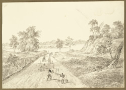 Eastern entrance into the ruined fort of Bishnupur (Bengal); an Englishman and his wife driving along the road in a dog-cart. 29 January 1825